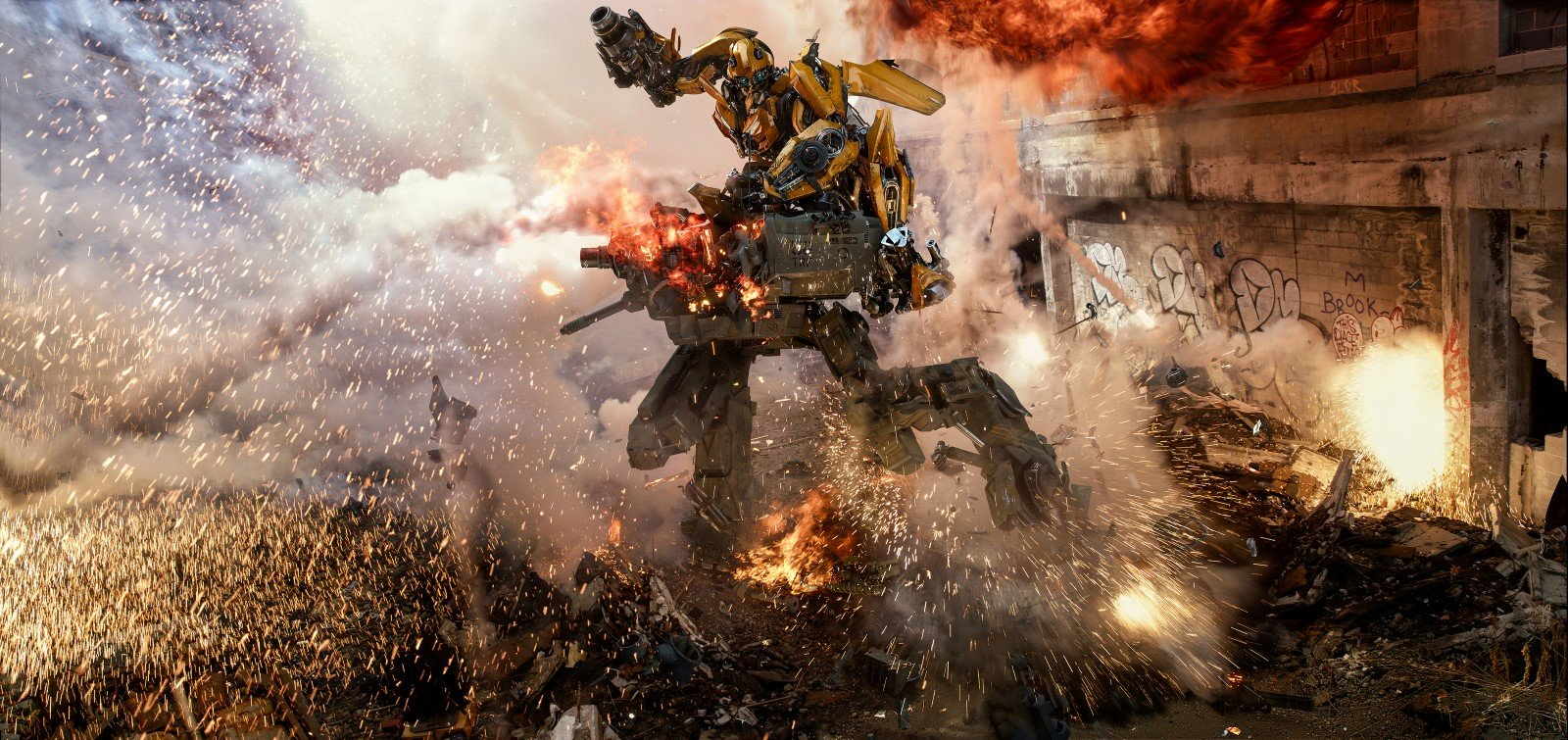 Bumblebee fights off a Sentinel in TRANSFORMERS: THE LAST KNIGHT, from Paramount Pictures.