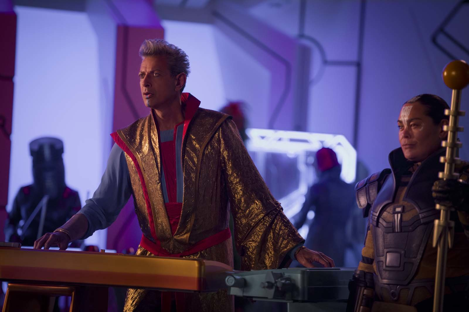 Marvel Studios Thor: Ragnarok..L to R: Grandmaster (Jeff Goldblum) and Topaz (Rachel House)..Photo: Jasin Boland..©Marvel Studios 2017