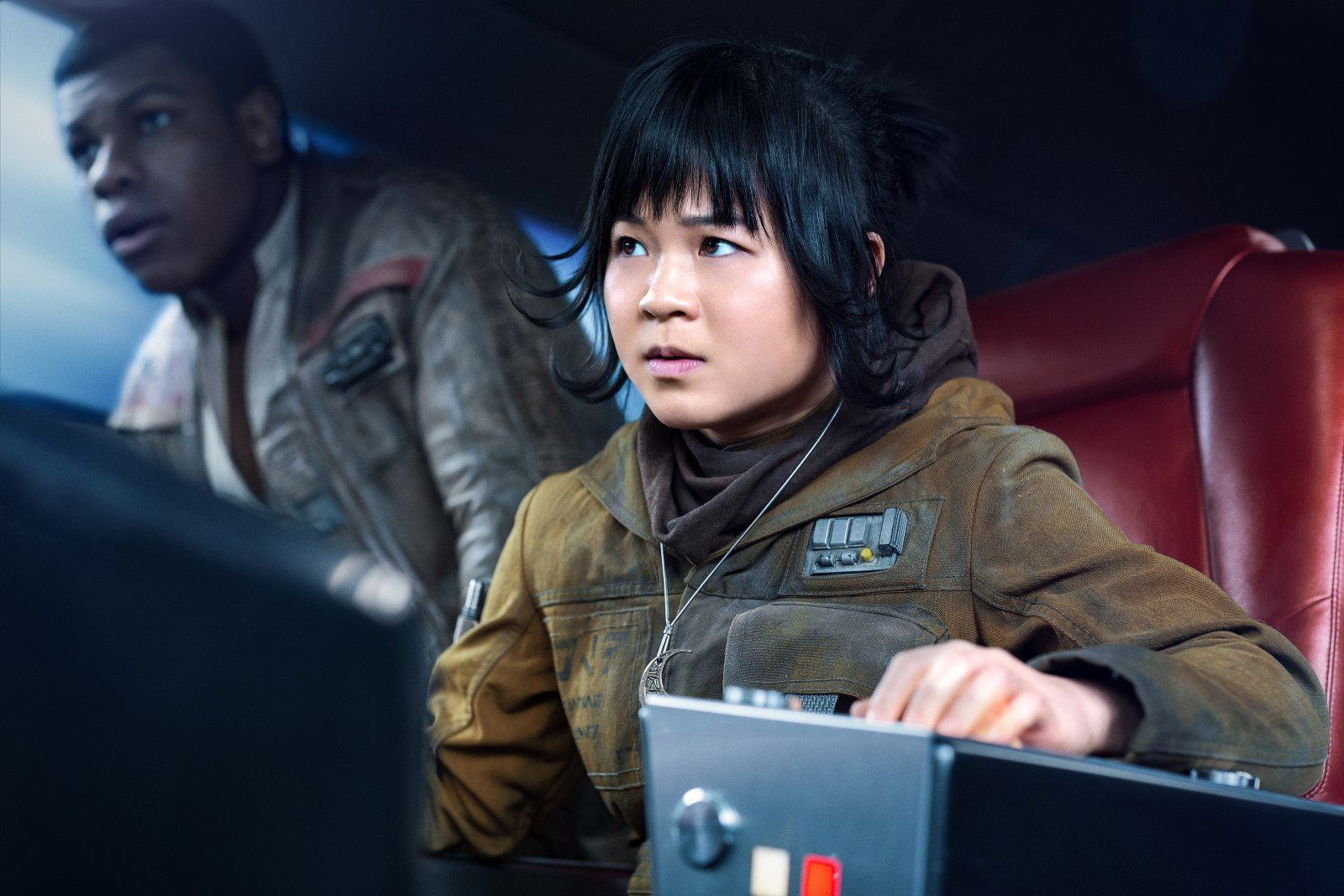 Kelly Marie Tran is Rose and John Boyega is Finn in THE LAST JEDI.